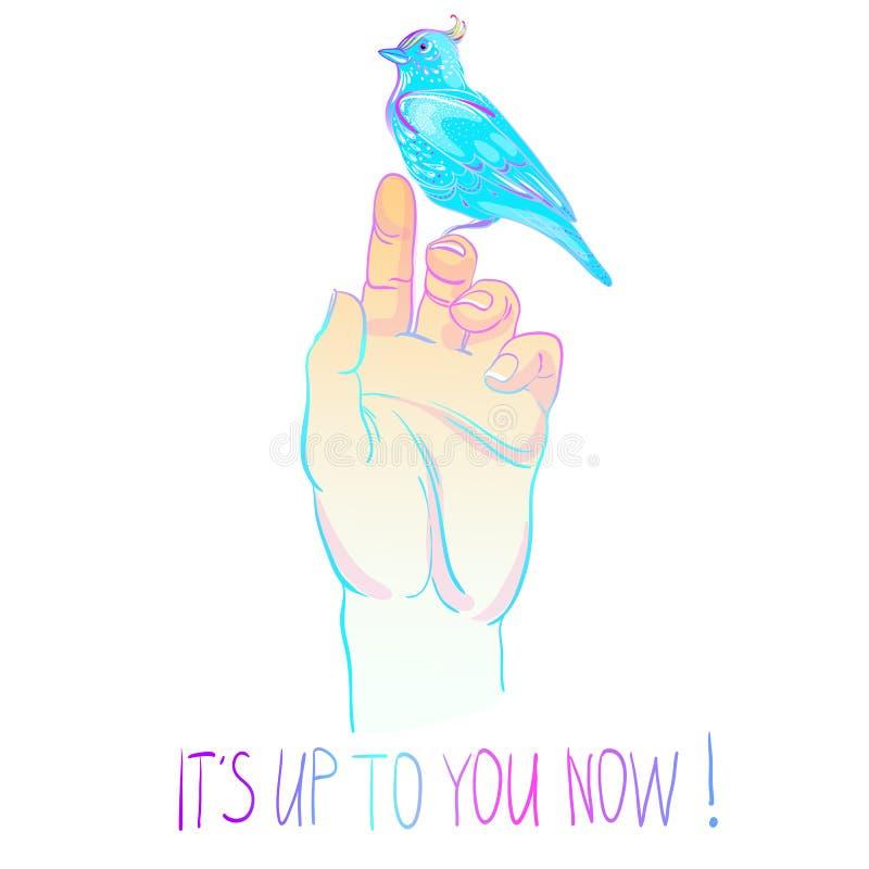 Menschliche Palme mit blauem Neonvogel Motivierungsillustration Getrennt auf Schwarzem Realistische Vektorillustration in den hel vektor abbildung