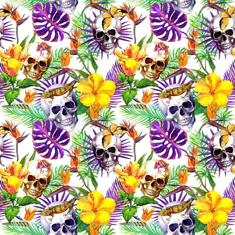 Menschliche Schädel, tropische Blätter, Dschungeltiere, exotische Blumen Wiederholen des Musters watercolor stock abbildung