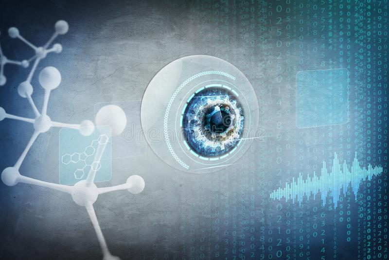 Menschlicher Augapfel im Prozess des Biometriescannens stockfotos