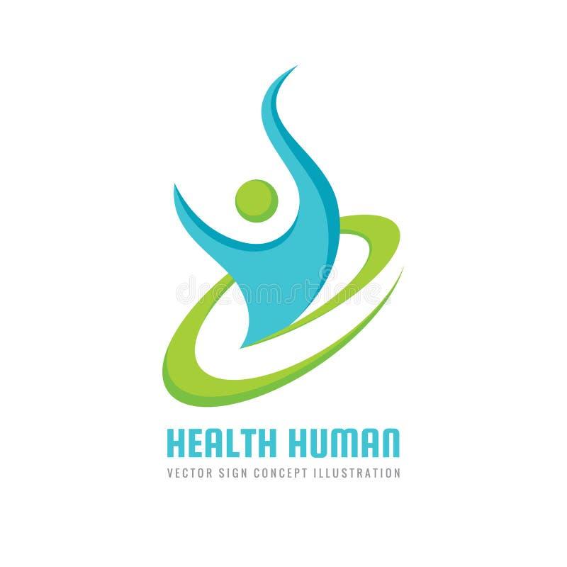 Menschlicher Charakter der Gesundheit - Vektorlogoschablone Sporteignungs-Konzeptillustration kreatives Zeichen Glückfreiheitsiko vektor abbildung