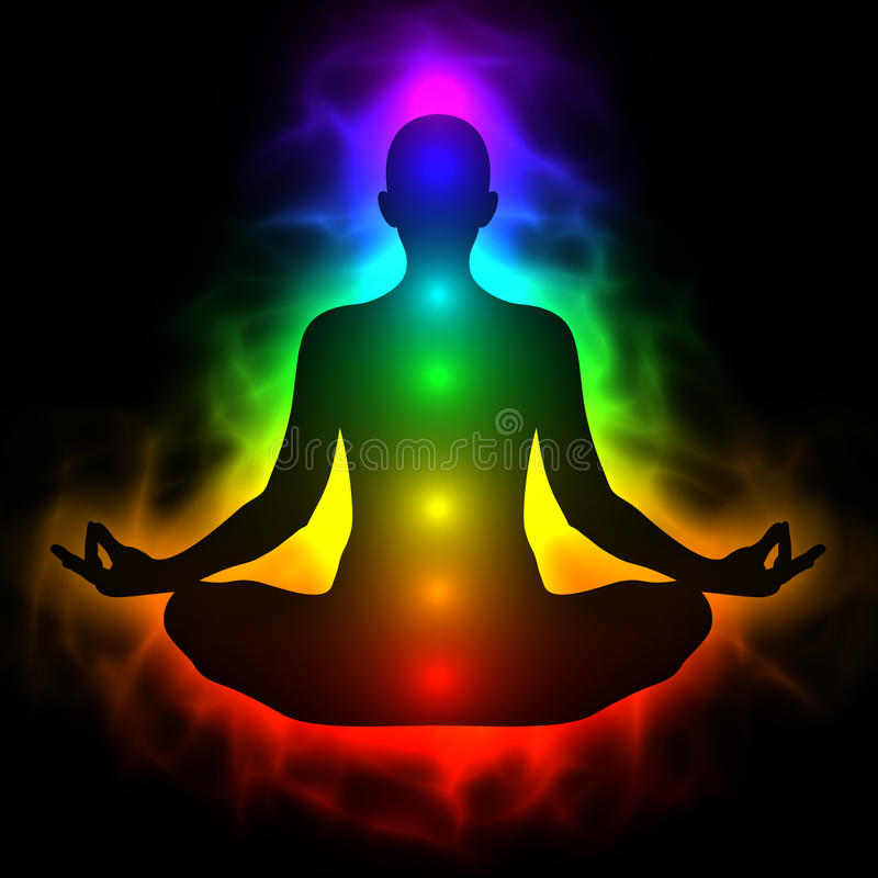 Menschlicher Energiekörper, Aura, chakra in der Meditation vektor abbildung