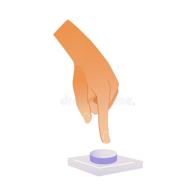 Menschlicher Handpressenknopf mit dem Zeigefinger lokalisiert auf weißem Hintergrund lizenzfreie abbildung