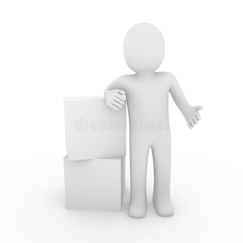 menschlicher Kasten des Würfels 3d lizenzfreie abbildung