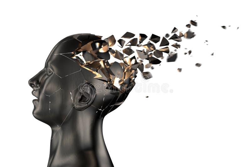 Menschlicher Kopf bricht in Stücke lizenzfreie abbildung