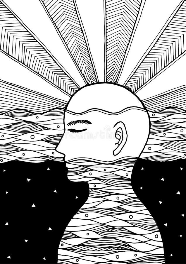 Menschlicher Kopf, chakra Energie, abstrakter Gedanke der Inspiration, Welt, Universum innerhalb Ihres Verstandes lizenzfreie abbildung