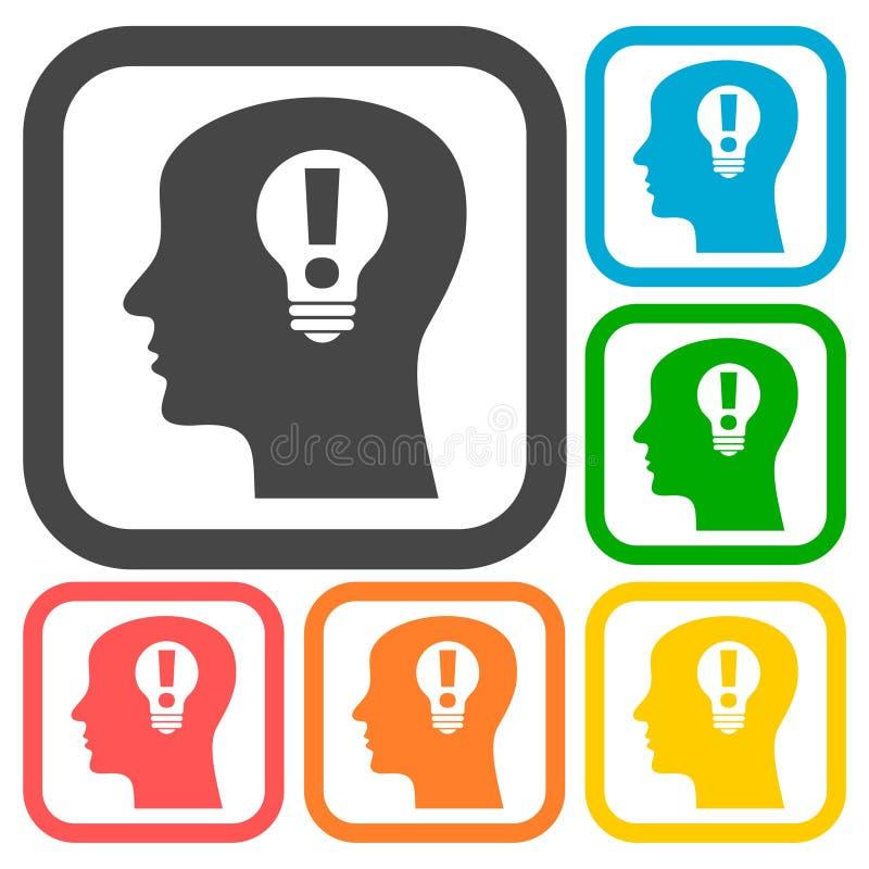 Menschlicher Kopf, kreative Ideenikonen eingestellt lizenzfreie abbildung