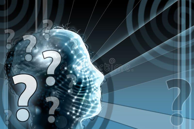 Menschlicher Kopf mit Frage lizenzfreie abbildung