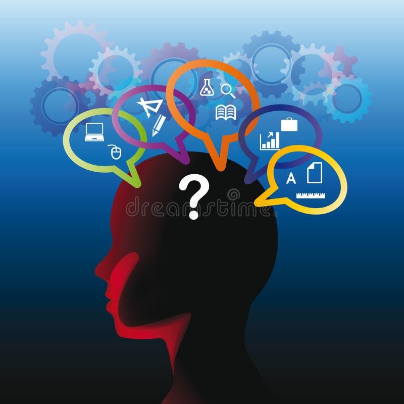 Menschlicher Kopf mit Frage stock abbildung