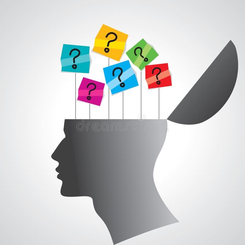 Menschlicher Kopf mit Fragezeichenmarke stock abbildung