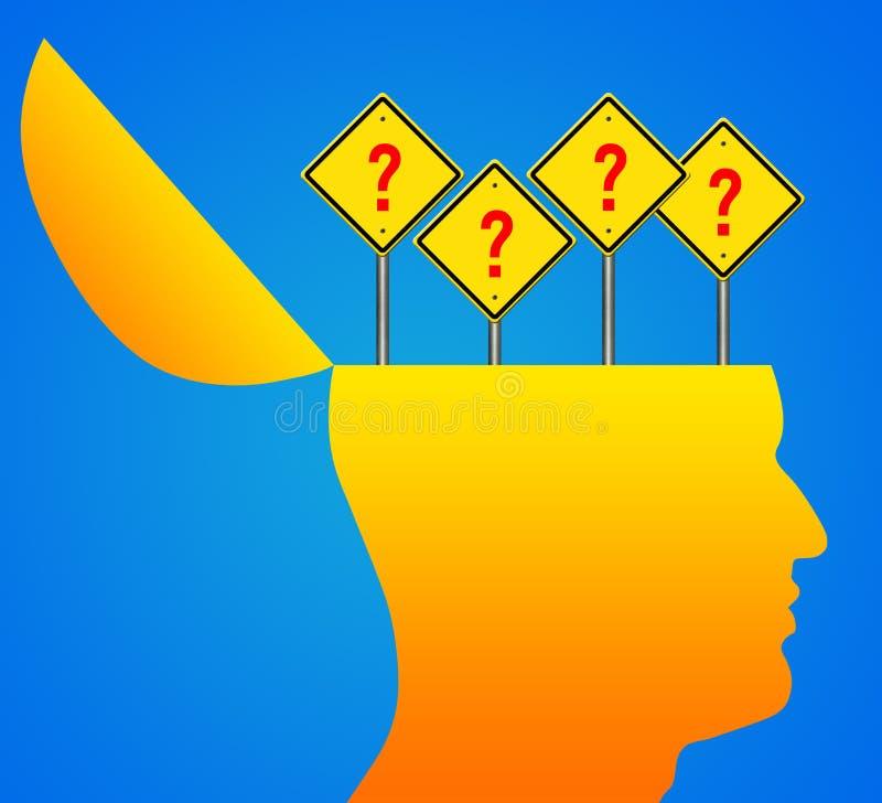 Menschlicher Kopf mit Fragezeichenzeichen stock abbildung