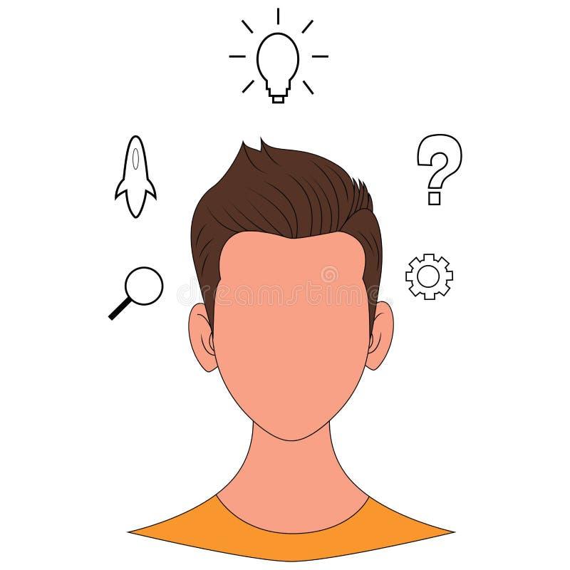 Menschlicher Kopf mit G?ngen und Ikonen Konzept des Denkens lizenzfreie abbildung