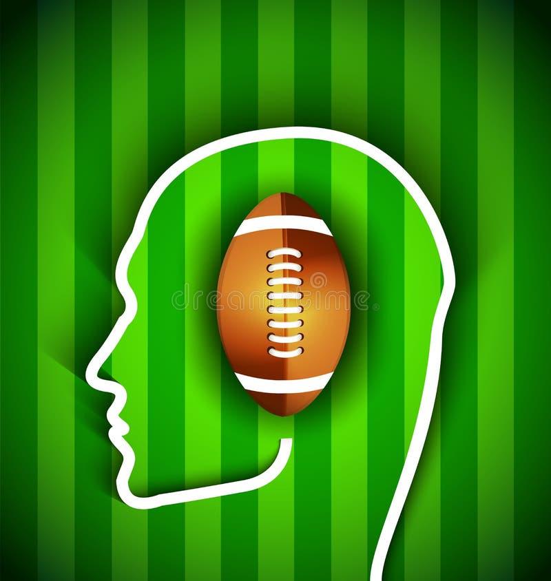 Menschlicher Kopf mit Rugby, amerikanischer Ball des Fußballs - Rugby, amerikanisches Fußballfan vektor abbildung