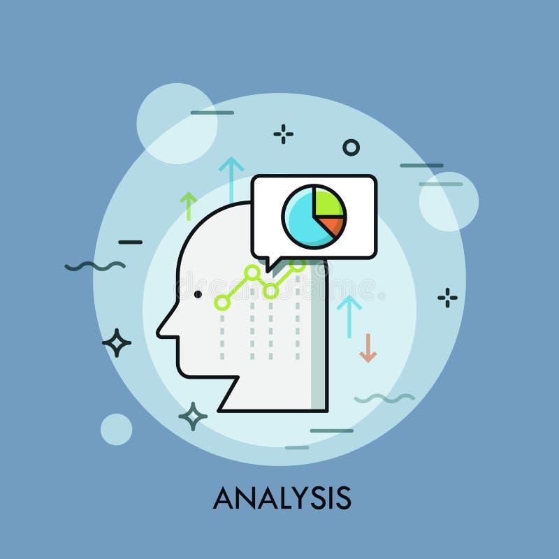 Menschlicher Kopf, Spracheblase, Diagramme und Diagramme Unternehmensanalyse, analytisches Denken, Wachstumsstrategieentwicklung vektor abbildung