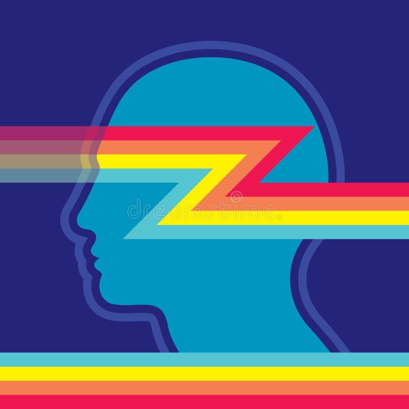 Menschlicher Kopf und abstrakte Formlinien - Konzeptvektorillustration Futuristische digitale Fahne Kreativer Tendenzhintergrund  lizenzfreie abbildung