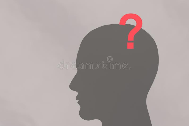 Menschlicher Kopf und Fragezeichen lizenzfreie abbildung