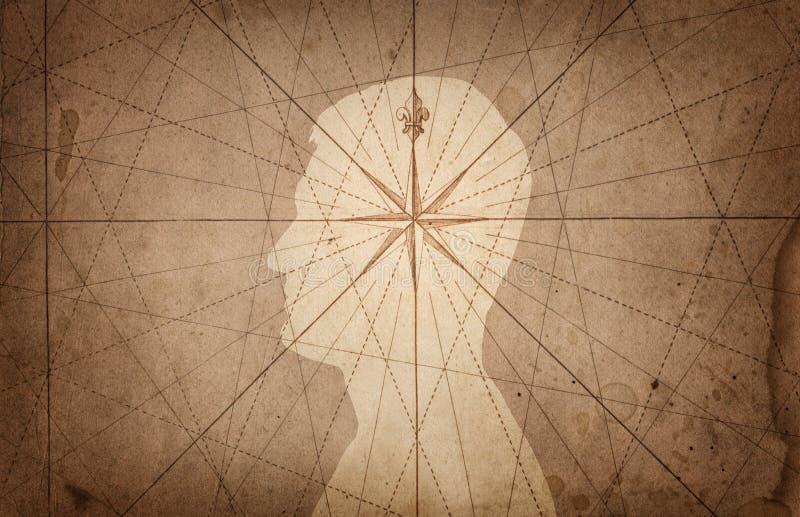 Menschlicher Kopf und Kompass Das Konzept auf dem Thema der Navigation, lizenzfreie abbildung