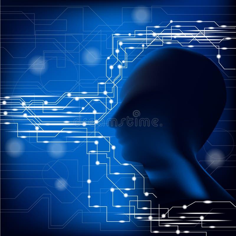 Menschlicher Kopf und Verbindung lizenzfreie abbildung