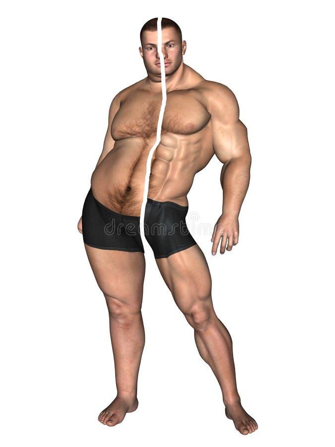 Menschlicher Mann fett und dünnes Konzept lokalisiert vektor abbildung