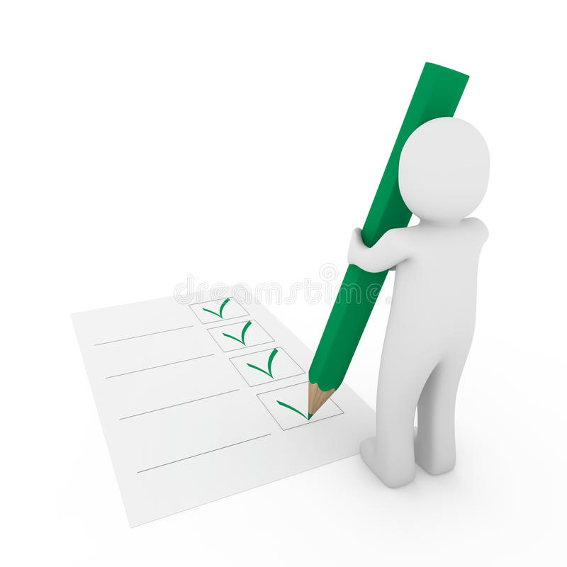 menschlicher Papierbleistift des Checks 3d vektor abbildung