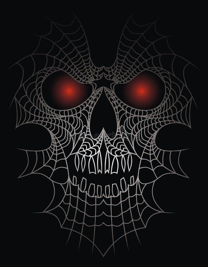 Menschlicher Schädel als Spinnennetz stock abbildung