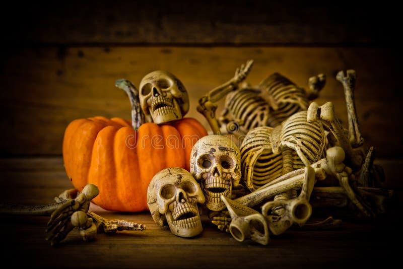 Menschlicher Schädel auf hölzernem Hintergrund, Skelett und Kürbis auf Holz, glücklicher Halloween-Hintergrund, Halloween-Kürbise stockbilder