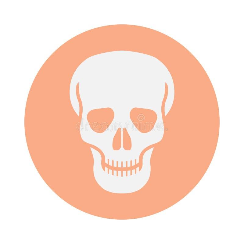 Menschlicher Schädel der Ikone im Kreis lizenzfreie abbildung