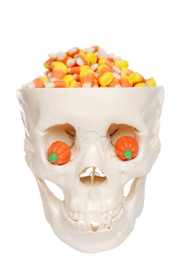 Menschlicher Schädel füllte mit Süßigkeitmais- und -kürbisauge stockfoto