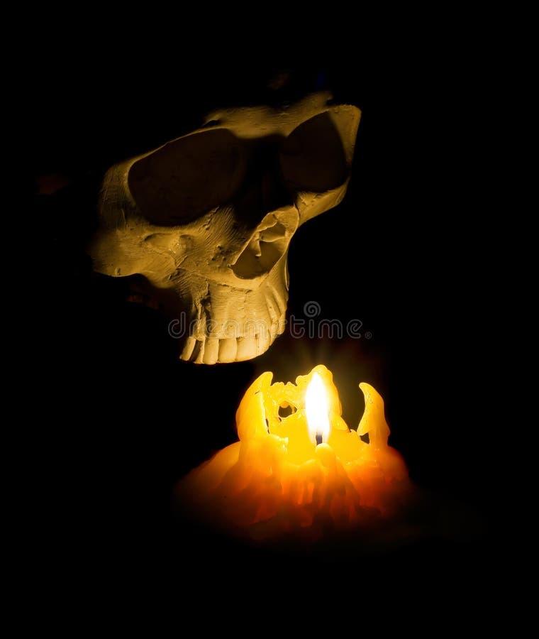 Menschlicher Schädel Halloween-Geistes kommt aus die Dunkelheit heraus, die mit candl beleuchtet wird stockfotos