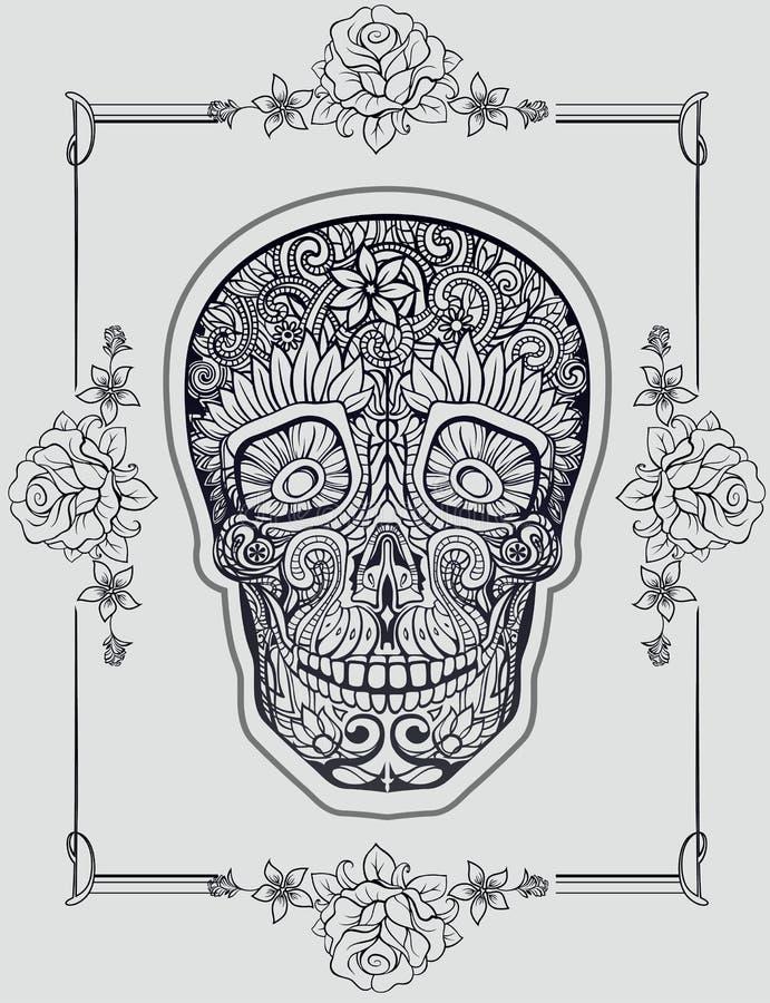 Menschlicher Schädel hergestellt von den Blumen stock abbildung