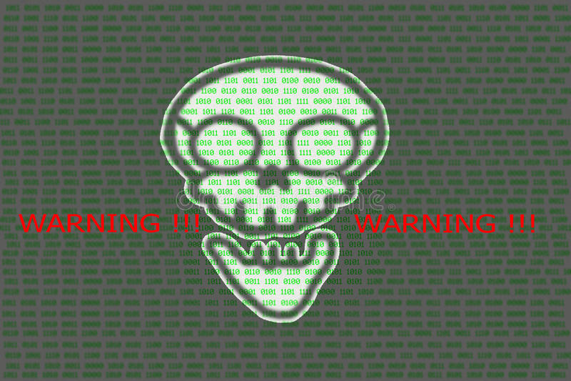 Menschlicher Schädel im digitalen Hintergrund/im Konzept der Netzwerksicherheit, stockbilder