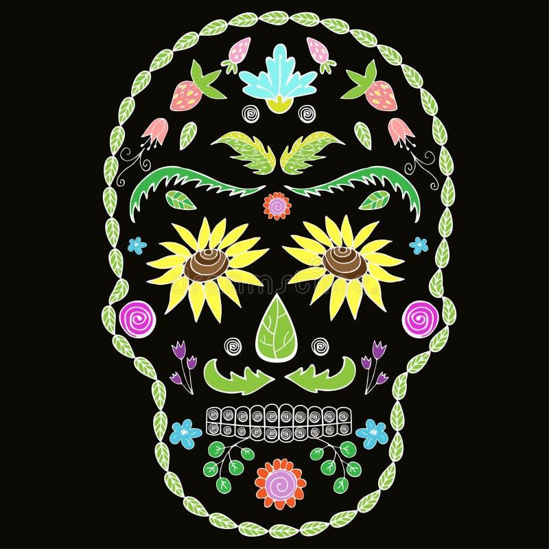 Menschlicher Schädel mit Blumenelementen für Religion oder Halloween-Entwurf bild vektor abbildung
