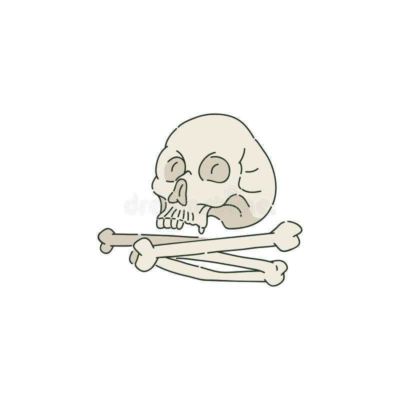 Menschlicher Schädel oder Schädel und Stapel von Knochen in der Skizzenart lizenzfreie abbildung