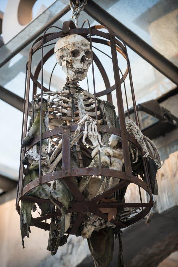 Menschlicher skeleton Stahlkäfig für Folterung lizenzfreie stockfotografie