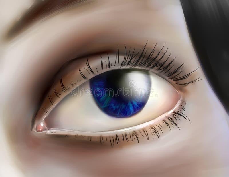 Menschliches Auge, das oben schaut vektor abbildung