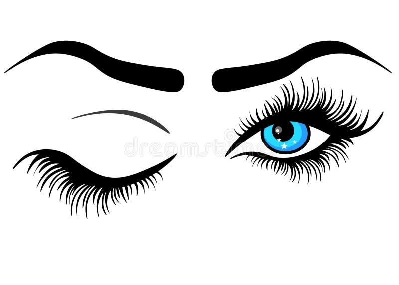 Menschliches Auge der Netz-Zusammenfassung mit den langen Wimpern und mit blauer Steigungsiris, Vektorillustration über Weiß vektor abbildung