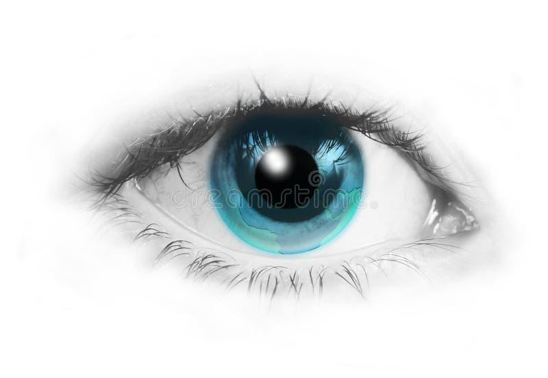 Menschliches Auge mit blauer Erde anstelle von der Blende lizenzfreie abbildung