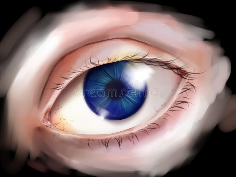 Menschliches Auge mit blauer Iris stock abbildung