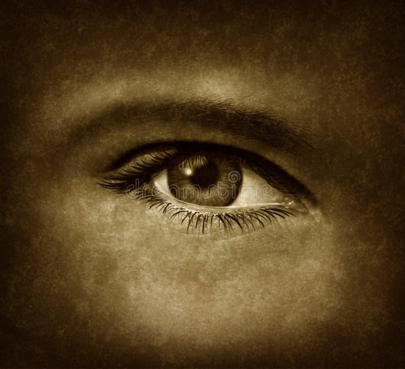Menschliches Auge mit Grunge Beschaffenheit stock abbildung