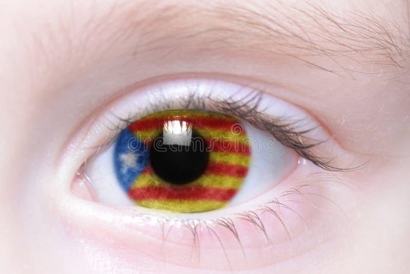 Menschliches Auge mit Staatsflagge von Katalonien lizenzfreie stockfotos
