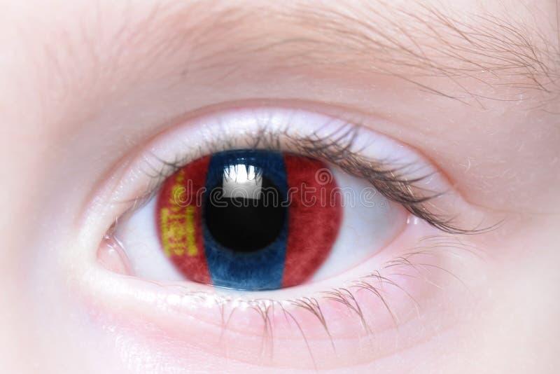 Menschliches Auge mit Staatsflagge von Mongolei stockfotografie