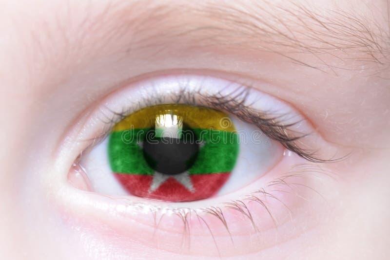 Menschliches Auge mit Staatsflagge von Myanmar lizenzfreie stockfotografie