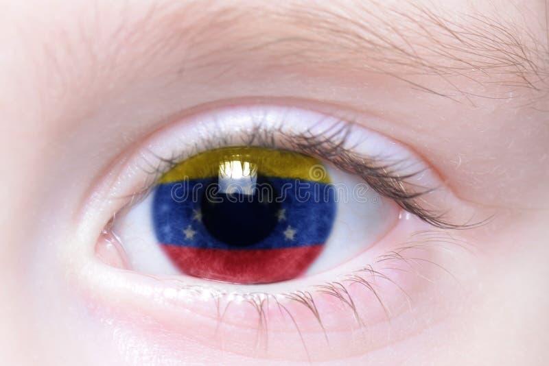 Menschliches Auge mit Staatsflagge von Venezuela lizenzfreie stockfotografie