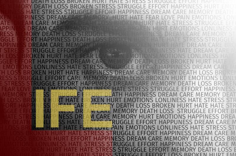 Menschliches Auge mit Text überlagerte das Enthalten von den Wörtern, die das Leben beschreiben stockbilder