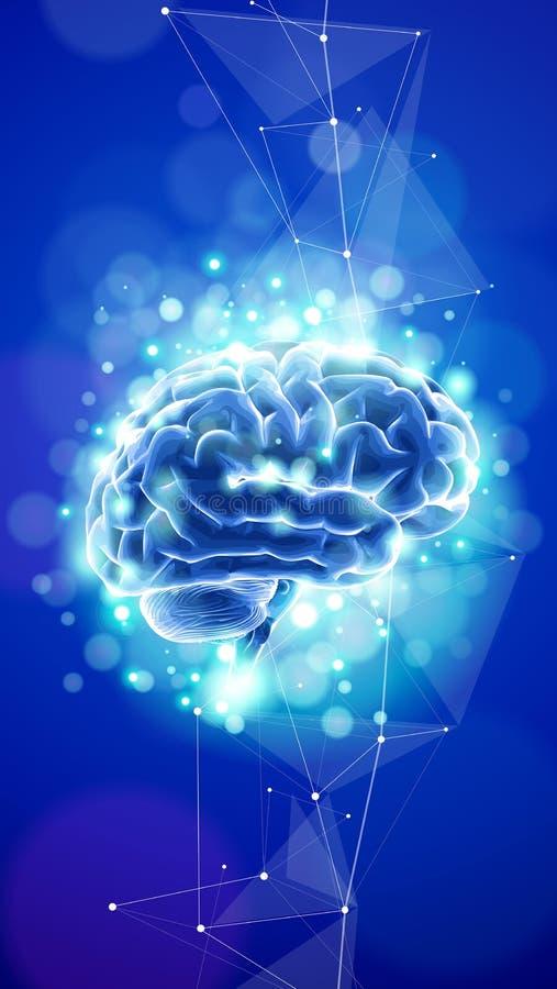Menschliches Gehirn auf einem blauen technologischen Hintergrund umgeben durch Textfelder, neurale Netze lizenzfreie abbildung