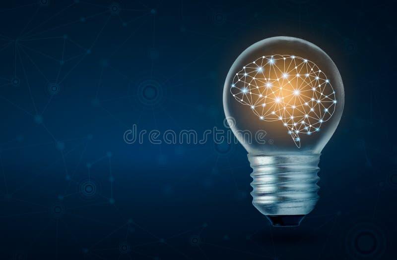 Menschliches Gehirn der Glühlampe des Gehirns, das nach innen von der Glühlampe auf dunkelblauem Hintergrund glüht vektor abbildung