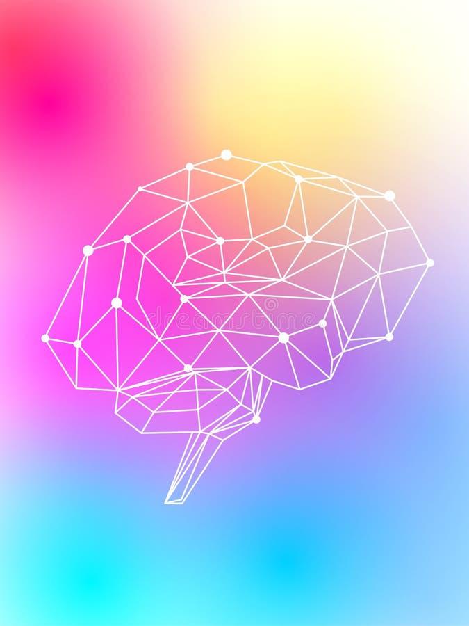 Menschliches Gehirn glüht hell mit einem mehrfarbigen hellen Neonlicht auf einem hellfarbigen Hintergrund lizenzfreie abbildung