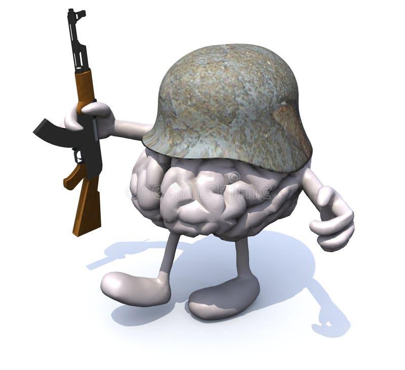 Menschliches Gehirn mit den Armen und Beine, deutscher Sturzhelm und Gewehr vektor abbildung