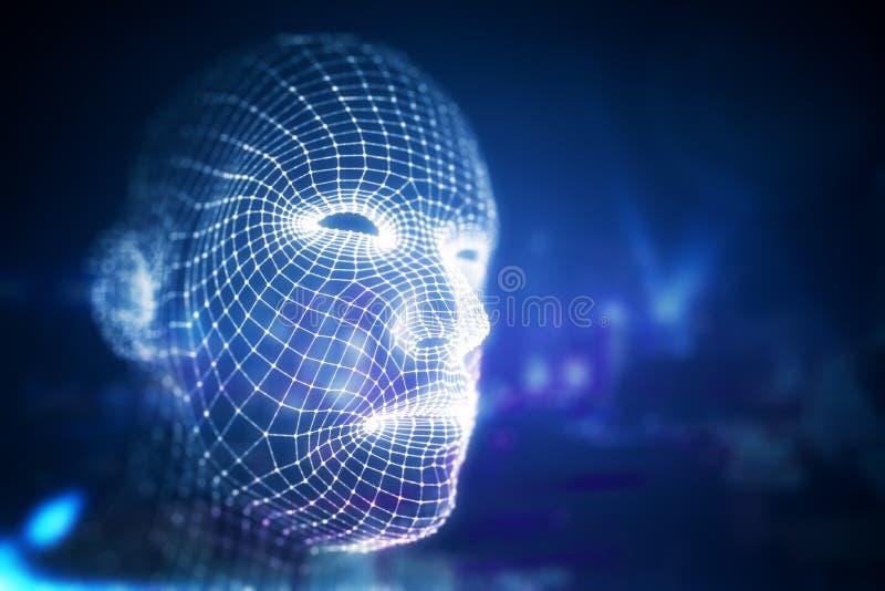 Menschliches Gesicht Digtal lizenzfreie abbildung