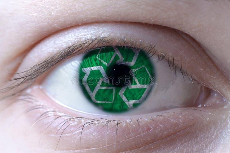 Menschliches Gesicht gemalt mit Recycling-Symbol auf der Iris stockfotos