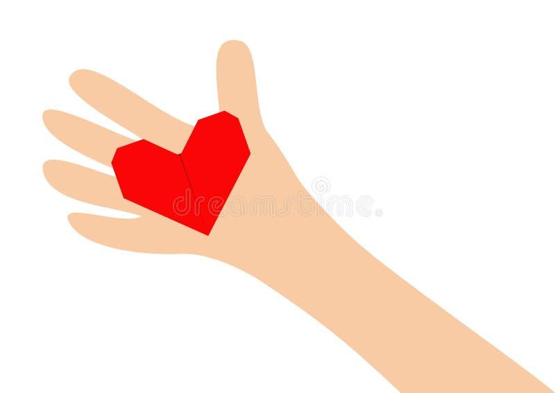 Menschliches Handarmholdingrotes glänzendes rotes Papierorigamiherz-Formzeichen Handgemachte Fertigkeit Schließen Sie herauf Körp vektor abbildung